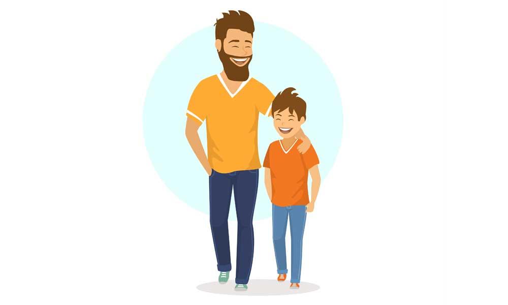 אילוסטרציה אבא ובן צועדים מחובקים