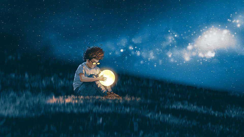 סוויץ' בראש-אילוסטרתיה ילד עם כדור נוצץ בשדה חשוך